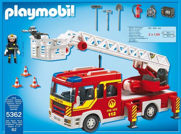 PLAYMOBIL 5362 - Feuerwehr-Leiterfahrzeug mit Licht und Sound_